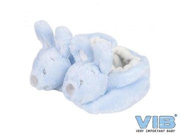 Pluche Konijnenslofjes met konijnenhoofd Blauw