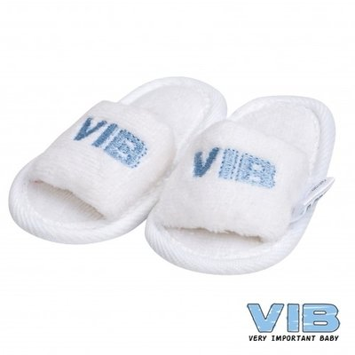 VIB Baby Slippers Wit (blauw logo)