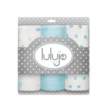 Lulujo medium-swaddle 3-pack - Brilliant Blue