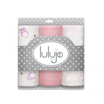 Lulujo medium swaddle 3-pack - Pretty in Pink