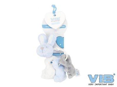 VIB Pluche konijn sleutelbos muziek Blauw