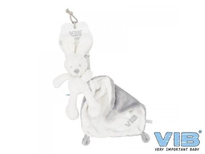 VIB Pluche konijn houdt doekje vast wit