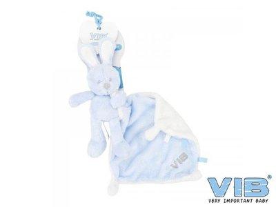 VIB Pluche konijn houdt doekje vast Blauw