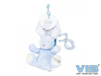 VIB Pluche konijn met clip en trekkoord Blauw