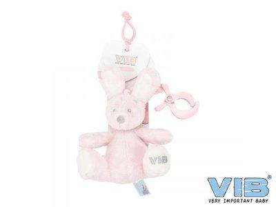 VIB Pluche konijn met clip en trekkoord Roze