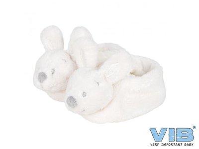 Pluche Konijnenslofjes met konijnenhoofd Wit