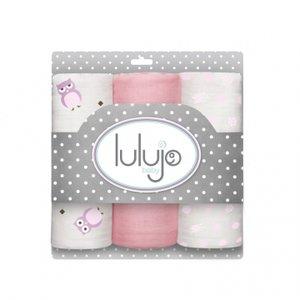 Lulujo medium swaddle 3-pack - Pretty in Pink