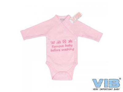 VIB Romper Remove Baby Before Washing Roze