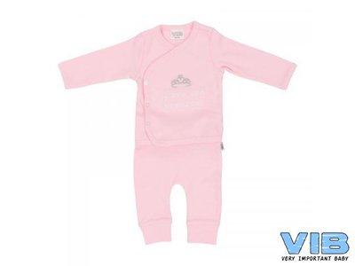 VIB 2-DELIG SETJE (OVERSLAG T-SHIRT+BROEKJE) (roze)